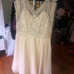 white lace skater skirt dress
